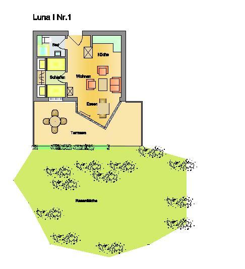 Helles 2 Personen Appartement mit Südterrasse und Zugang zum Garten; Strandnah . Luna I Nr. 1