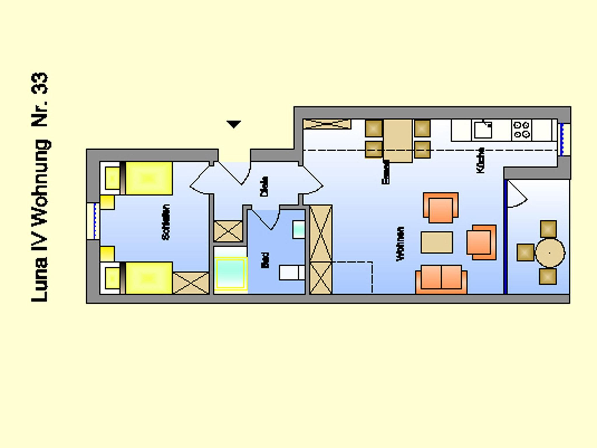 2-3 Personen Ferienappartement in St. Peter-Ording mit Loggia in Strandnähe mit Blick auf den Ordinger Deich Luna IV Nr. 34